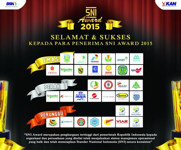 Inilah Perusahaan Peraih SNI Award 2015